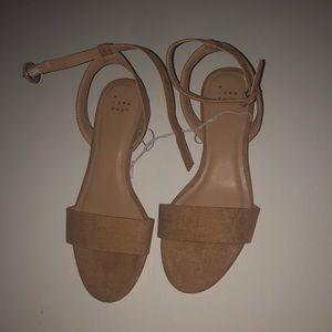 Nude ankle strap low block heel